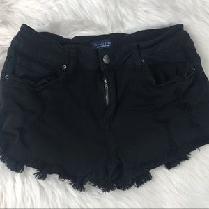 Angel Kiss Distressed Black Shorts in Size 7